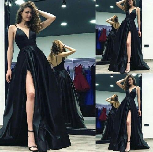 Women s Fashion Black sexy strapless chest slit Dress Ball Gown Sundress  Wedding Sleeveless V-Neck Dress a49861fe1