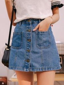 Mini Skirts Jean Saia A-Line Single-Button-Pockets Blue High-Waist Summer Women New-Arrivals
