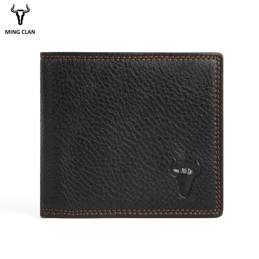 Mingclan Rfid Fashion Short Men Wallets Genuine Leather Male Purse Card Holder Wallet Zipper Wallet Coin Purse Photo Pocket Bag dicihaya genuine leather men wallet soft purse coin pocket zipper short credit card holder wallets men black leather wallet
