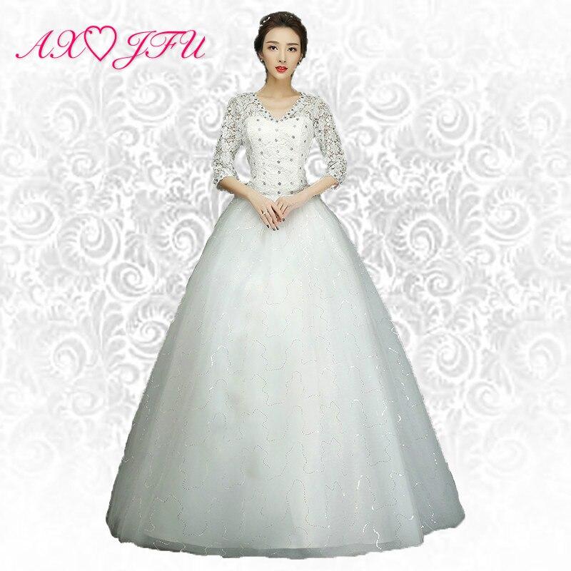 AXJFU kecantikan gadis renda perkahwinan Pakaian puteri perkahwinan Pakaian puteri perkahwinan bunga pakaian S