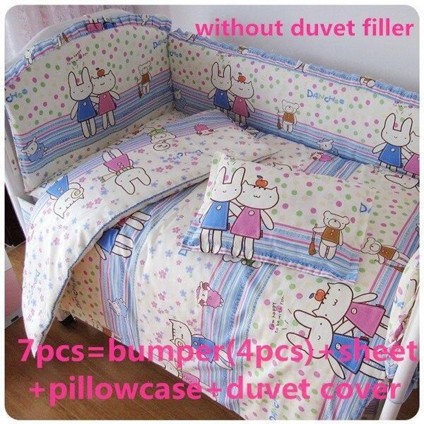 Promotion! 6/7PCS Child quilt cover piece set baby bedding kit baby bed 100% cotton ,120*60/120*70cm
