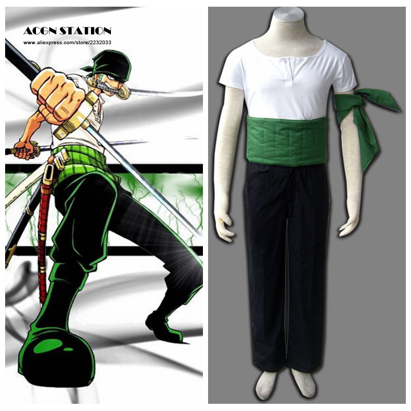 2018 Free Shipping One Piece Anime Roronoa Zoro Adult Kid Halloween Cosplay Costume Customize for plus size adults and kids