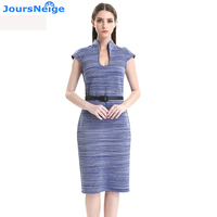 Womens Pencil Dress 2017 Spring Summer New Fashion V Neck Sashes Striped Sexy Women Party Dresses
