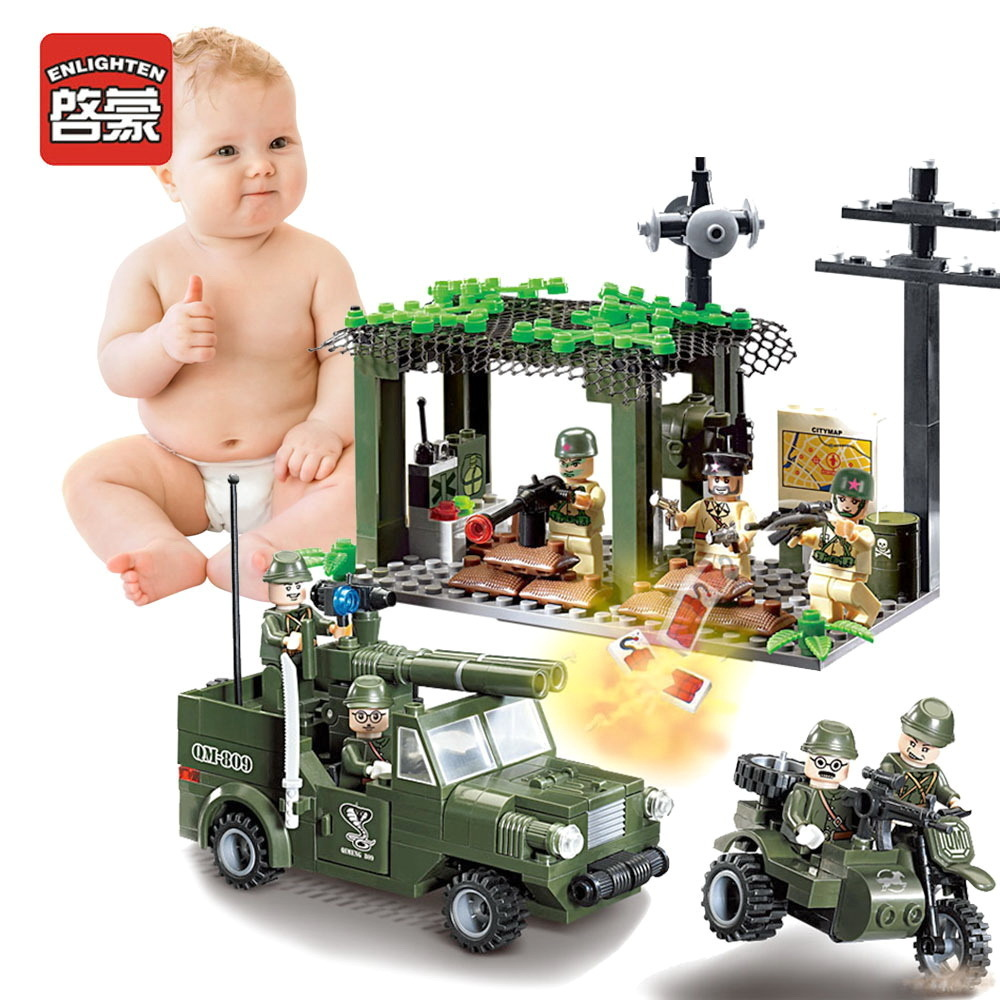 Enlighten Children Toys Military Gifts Soldier War Truck Compatible Building city Blocks Military Assembled Building Blocks 0367 sluban 678pcs city series international airport model building blocks enlighten figure toys for children compatible legoe