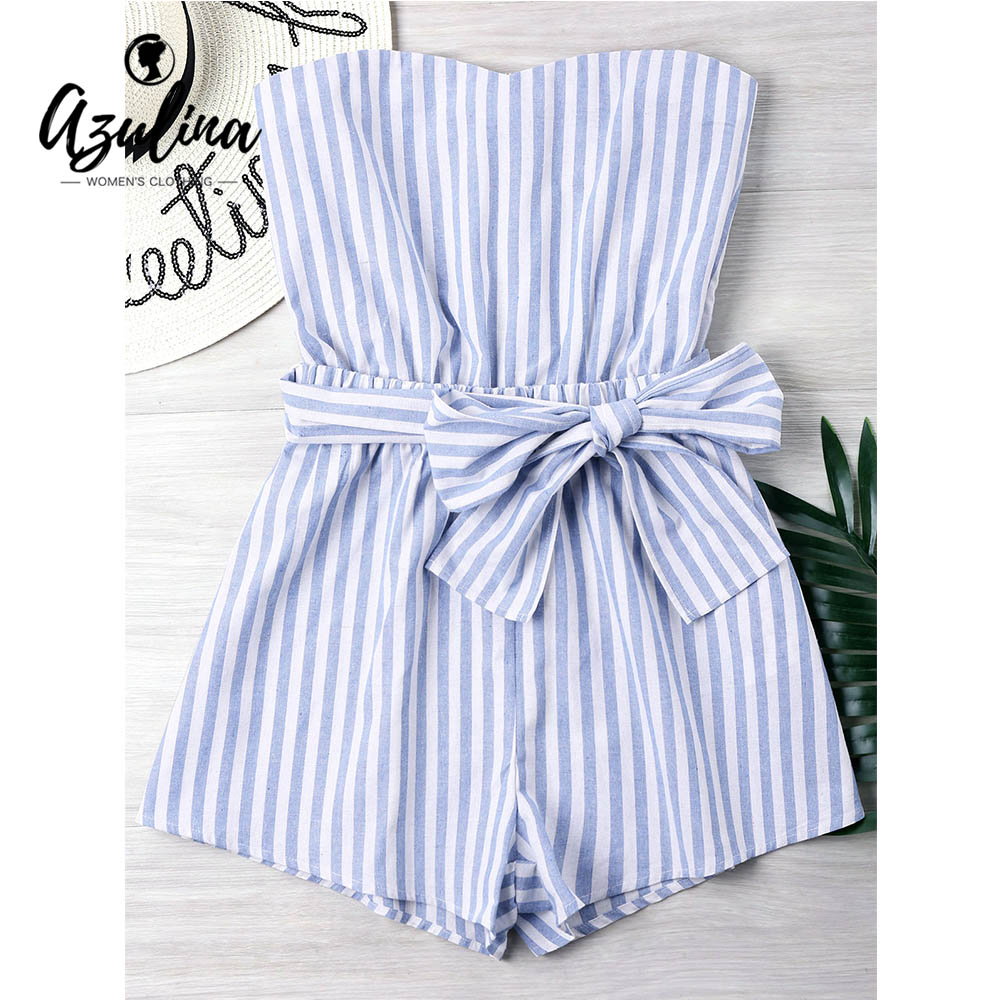 AZULINA Striped Belted Bandeau Romper Summer Beach Women Playsuits 2018 Ladies Strapless Sleeveless Mini Overalls Girls Clothes