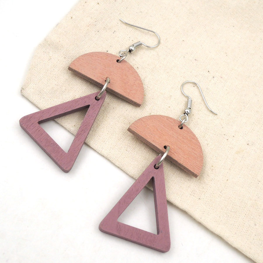 geometric WOOD dangle earring triangle half moon modern everyday wholesale 2017 newest mint red light weight ER014