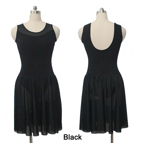 Dancer's Choices Retail Wholesale Black Cotton Mesh Tank Leotard Dress Girls Ballet Dancewear Ladies Performance Skirts