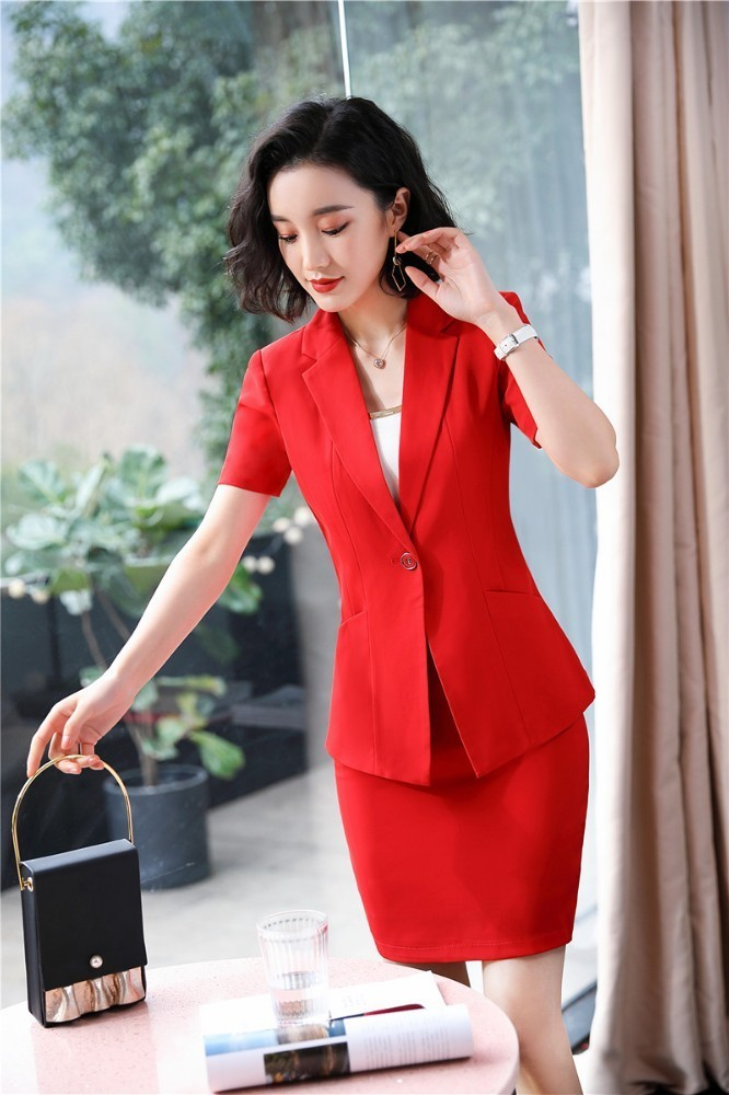 Elegant Red Slim Fashion Summer Short Sleeve Formal Women Business Suits With Tops And Skirt Ladies Office Work Wear Blazers Set