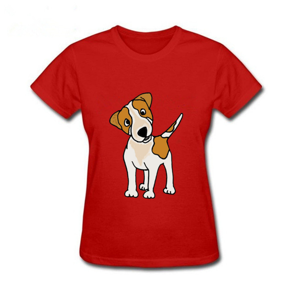 a9c8ae2a Cool women Funny Puppy Jack Russell Terrier Dog T Shirts women Top Design  Custom Short Sleeve O neck animal printed T-shirt