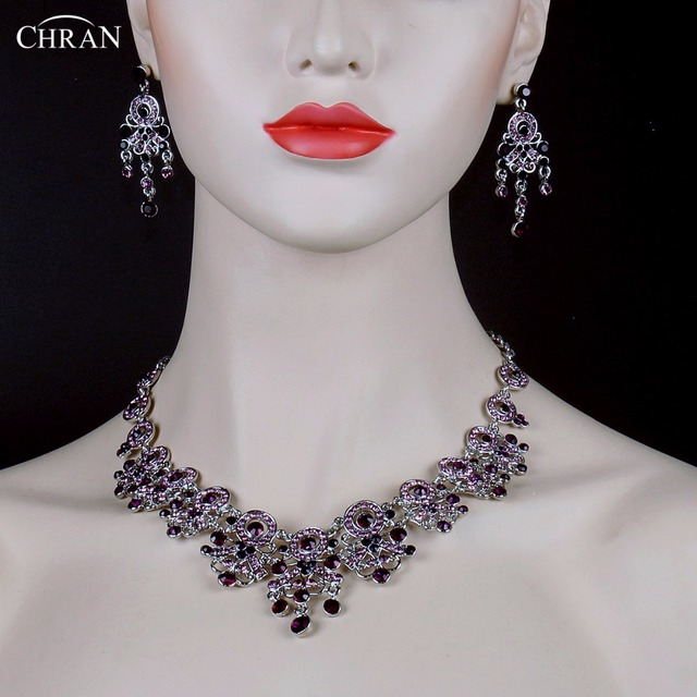 CHRAN Flower Design Silver Plated Purple Crystal Wedding Jewelry Set