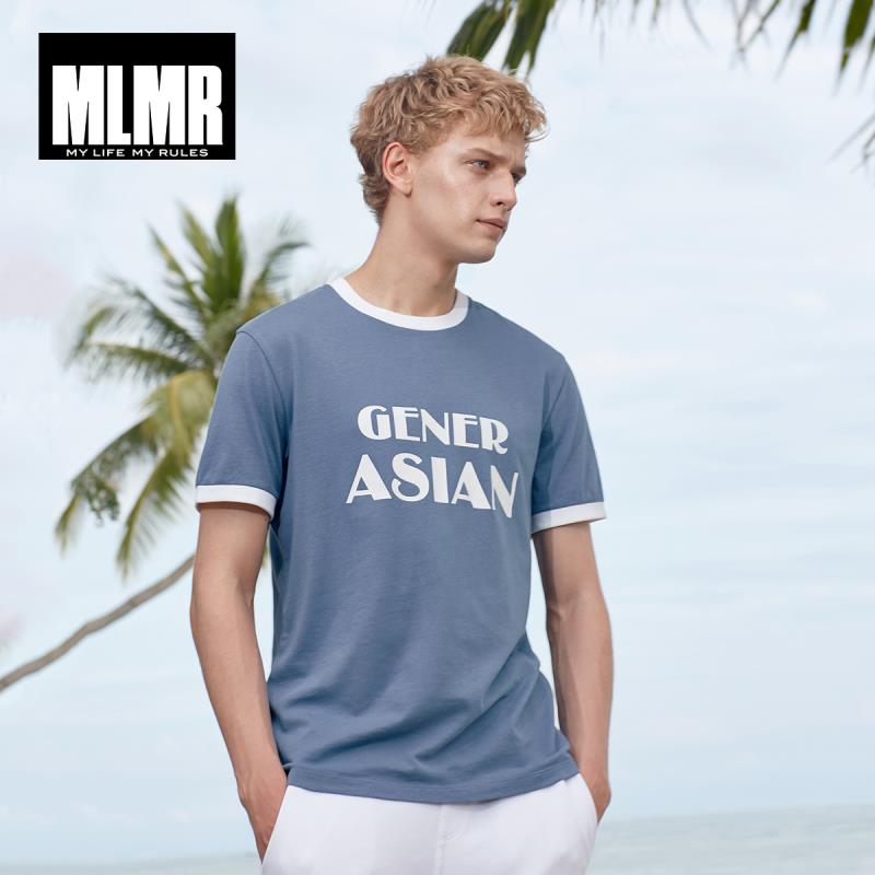 MLMR Men's 100% Cotton Contrasting Print Short-sleeved T-shirt Streetwear|219101528