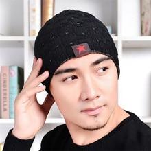 eight Colors Men's Simple Winter Warm Cotton Thread Star Cap Knit Beanie Hat bonnet chapeu cappelli