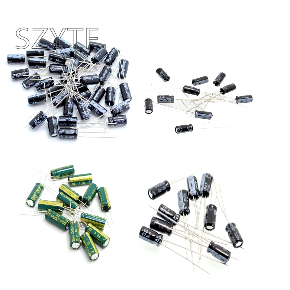 20PCS aluminum electrolytic capacitor 6.3V 10V 16V 25V 35V 10UF 100UF 1000UF 22UF 220UF 2200UF 33UF 330UF 47UF 470UF 680UF 1uf 2200uf 125pcs 25 value electrolytic capacitors assorted kit set