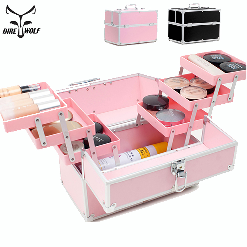 New 2018 Portable Women Professional Cosmetic Bags Makeup Bag Large Capacity Travel Organizer Cosmetics Box Storage Bag Suitcase new arrival large make up organizer storage box cosmetic organizer suitcase women makeup box container travel cosmetic bag cases