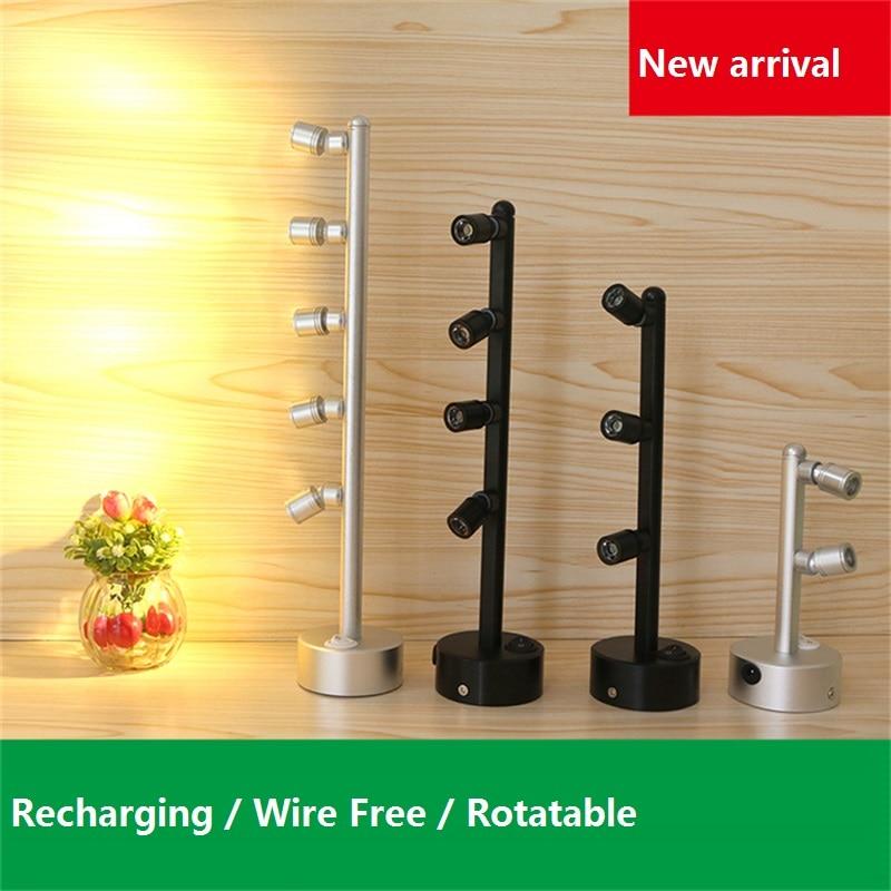 2-5W Recharging Led Cabinet Spot Lamp,universe 2-5 Head Jewelry Showcase Lamp,desk Sitting , Ceiling Mount Glass Battery Light