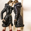 Nueva Llegada de Lujo de Las Mujeres Por la chaqueta 2016 chaqueta de Invierno de las mujeres Escudo de down parka Downs Chaquetas diseño Largo Espesar Abrigos 90% pato