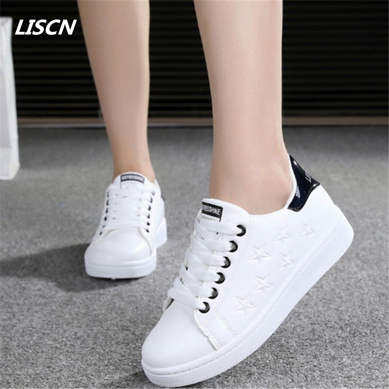 2018 hot sale Women Shoes Leather Casual shoes Outdoors Flat shoes Star White shoes Force zapatillas mujer casual tenis feminino women casual shoes zapatillas mujer fashion breathable flat shoes for teenager girls student tenis mesh shoes ladies trainer