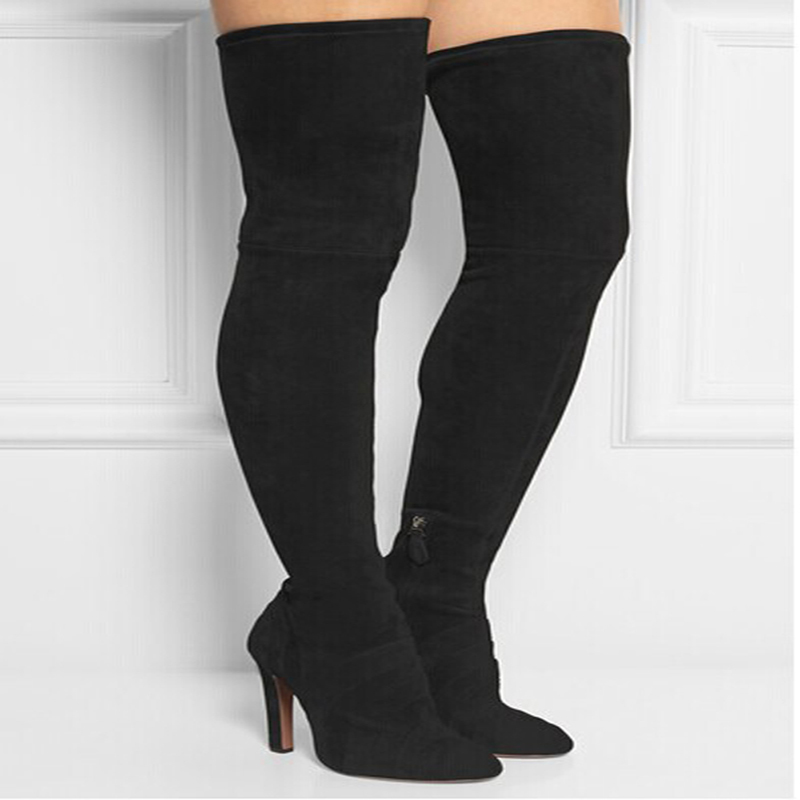 Newest Arrival Winter Fashion Women Thigh High Boots  Suede Leather Over the Knee Boots Sexy High Heels Shoes faux suede slim boots sexy over the knee high women snow boots women s fashion winter thigh high thick heels boots shoes woman