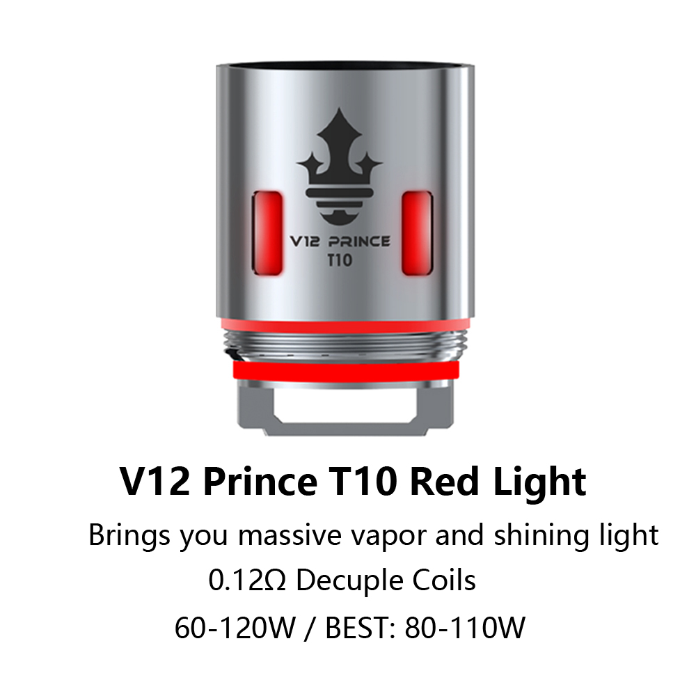 Original Eletronic Cigarette Vape SMOK TFV12 Prince T10 Red Light Coil 0.12ohm Head Core For V12 Prince Tank Mag X-Priv Kit