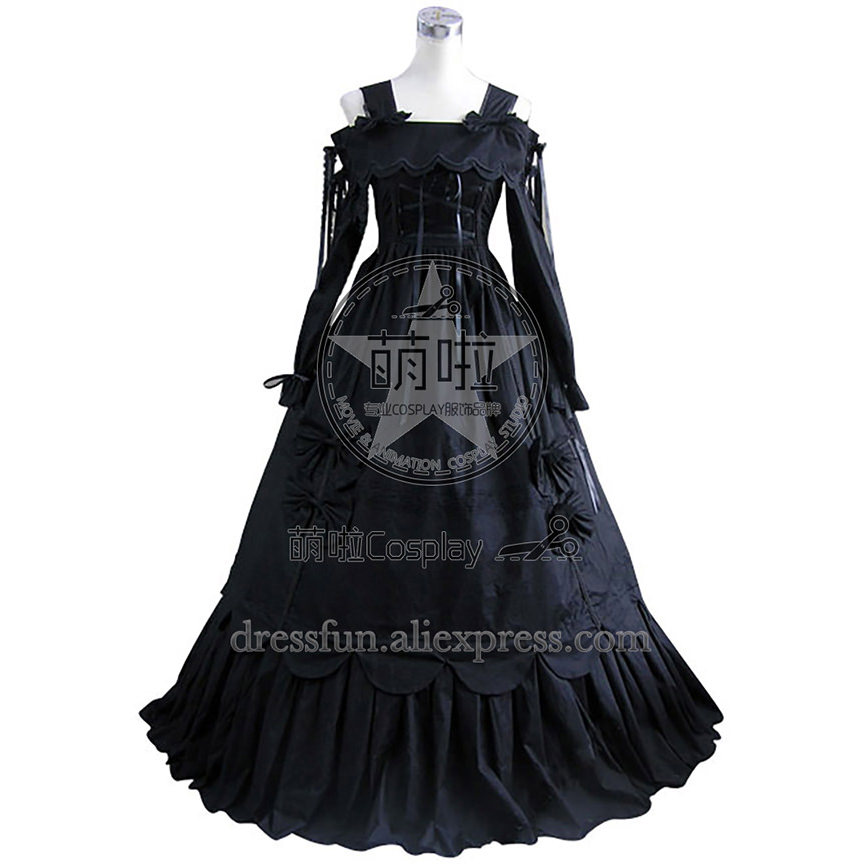 Lolita Dress Southern Belle Gothic Lolita Gown Dress Cosplay Costum With Bowknot Off The Shoulder Charming For Dancing Party