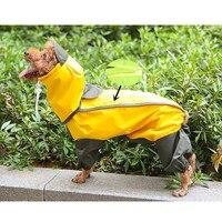 Маленький средний собака плащ Одежда Мопс Чихуахуа Водонепроницаемый Дождевик куртка с капюшоном комбинезон костюм верхняя одежда Костюм...