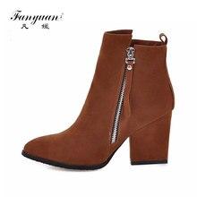 Fanyuan 2017 Westlichen Stil Reißverschluss Herbst Schuhe Frauen Platz High Heel Schwarz Stiefeletten Frauen Concise Mode Stiefel Größe 43