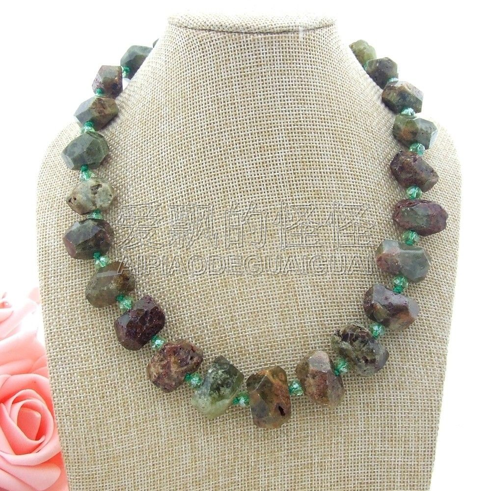 N051110 19 Faceted Green Demantoid Crystal NecklaceN051110 19 Faceted Green Demantoid Crystal Necklace