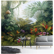 beibehang Custom high-level decorative painting 3d wallpaper century hand-painted tropical rain forest plant landscape