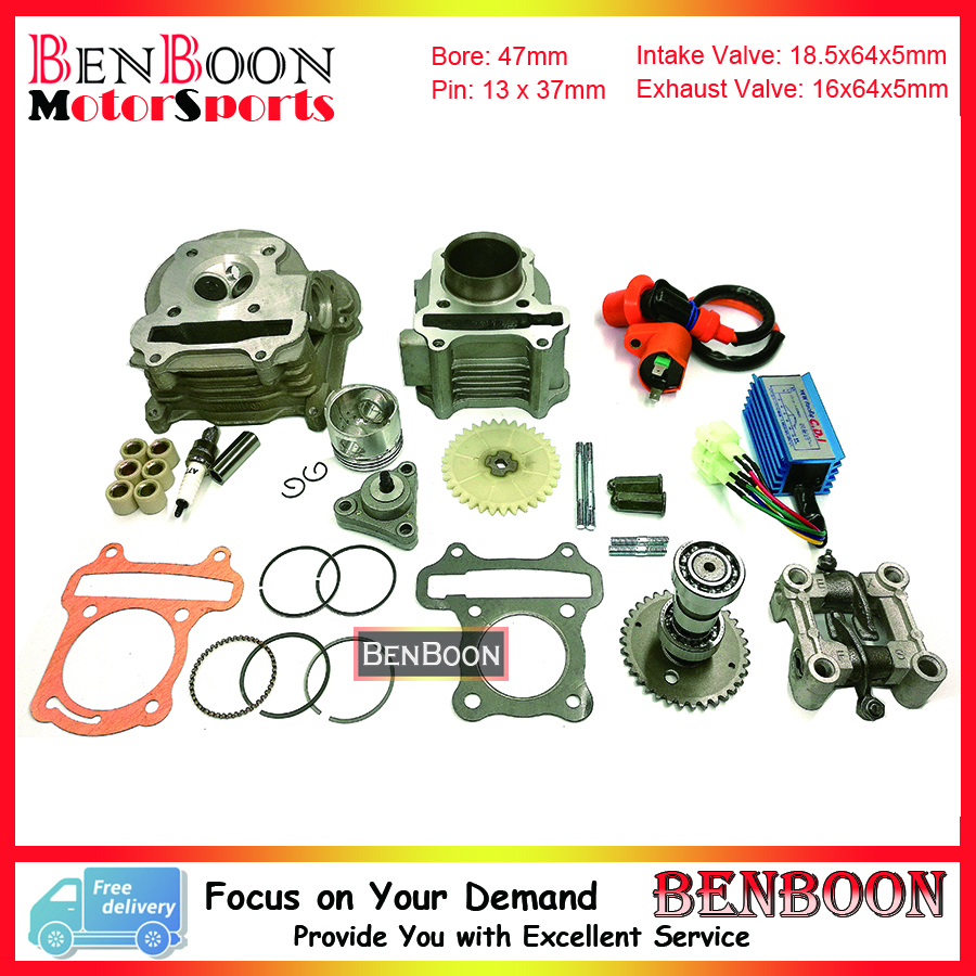 GY6 80cc 47mm Cylinder & Head Kit with Camshaft Holder Racing CDI and other accessories Chinese Scooter Parts Free Shipping gy6 80cc 47mm cylinder kit