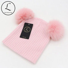 2016 New Cute Baby Girls Boys Beanie Cotton Winter Hats With 2 Real Fox Fur Pompom Kids Beanies Winter Knitted Baby Custome Caps
