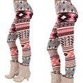 1PC Winter Fashion Slim Women Knitted Pants Slim Trousers Xmas stretch Snowflake Reindeer Warm reindeer Leggings 2016 New