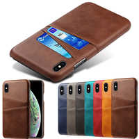 Luxury Card Holder Case for iPhone 5 5s 6 6s 7 8 Plus 5se Leather Wallet Back Case for iphone X XR XS Max 11 Pro Max Phone Cover