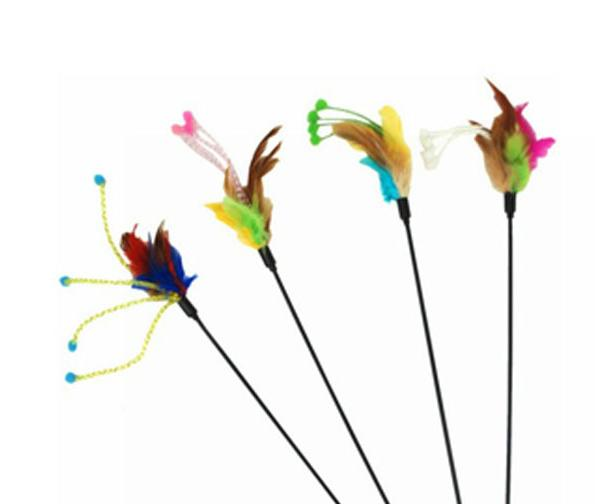 Fashion 50cm Stamen feather sound Cat Teaser The cat toys Free shipping 50pcs/lot 3091 Color random