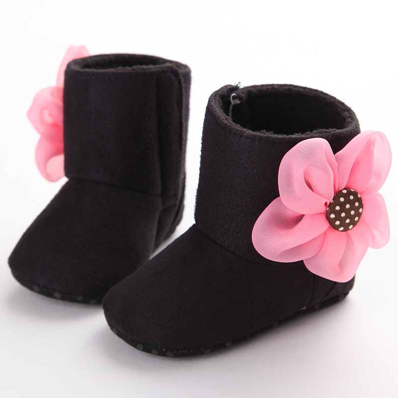 Newborn Baby Girls Boots Lovely Dimensional Flower Suede Soft Crib Shoes Toddler Infant Warm First Walker Baby Girl Shoes Winter