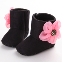 Newborn Baby Girls Boots Lovely Dimensional Flower Suede Soft Crib Shoes Toddler Infant Warm First Walker