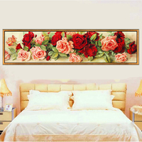 Full Diamond Painting 120cm X 35cm Fortune Comes With Blooming Flowers For The Bedroom Diy Diamond
