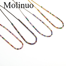 Molinuo Rainbow CZ Fine Chain Bracelet Women 2019 Summer Beach Hot Jewelry Multicolor available in four colors