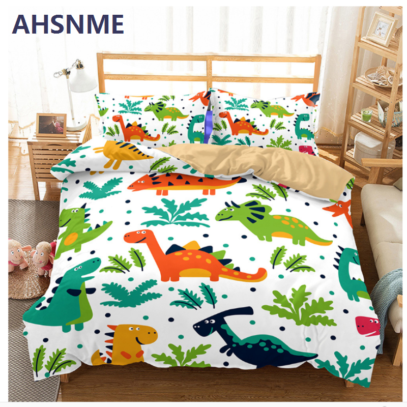 AHSNME Dinosaur Paradise Bedding Set Jurassic World Tyrannosaurus Children super love gift Quilt Cover Home Textiles