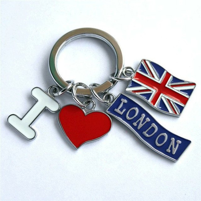 1pcs UK Flag Metal Keychain / Red Heart Souvenir Keychain / I Love London Mode B