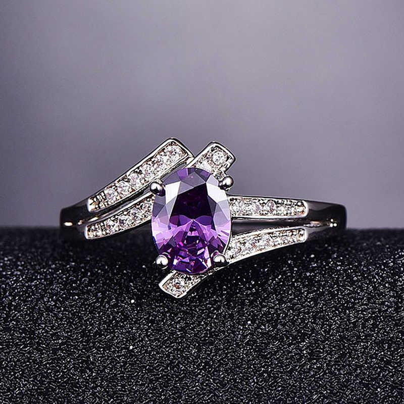 PANSYSEN Solid 925 Sterling Silver Aquamarine แหวนพลอยวินเทจเงาคลาสสิกหมั้นงานแต่งงานแหวน 6 สี