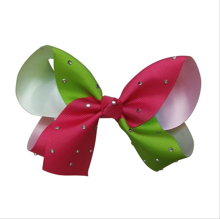 100pcs DHL Free shipping Gradual change ribbon Hairbow with Rhinestone Diamond Rainbow Hair Accessor