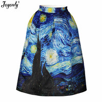 New 2016 Summer Women Vintage Van Gogh Starry Sky 3D Print High Waist Skirts High Quality
