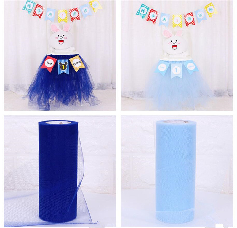 22m Tulle Roll 15cm Spool Tutu Wedding Decoration Organza Laser DIY Craft Birthday Party Supplies Cartoon Hats