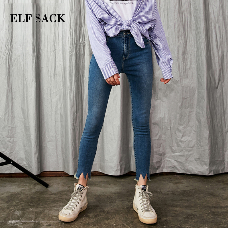064b4d22b352a2 ELF SACK Autumn New Women Jeans Cotton Ankle Length Pants Plaid Casual  Bottoms Straight Slim Jeans Harajuku Femme Pencil Pants -in Jeans from  Women's ...
