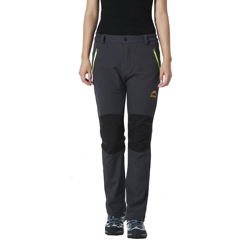 ФОТО Winter Fleece Lined Softshell Trousers Windbreaker Trekking Hiking Outdoor Pants Women Anti-pilling Camping Ski Pantalon Femme