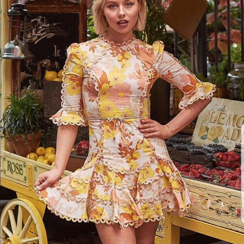 Vacances Vocation 2019 Plage Robe Manches Nouvelle Floral ligne Mode Vintage Or Moitié Mini Imprimé A tqEEBO