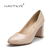 Heels Shoes Woman PU Patent Leather Dress Round Toe Square Toe 36 41 Free Shipping NAYTILYE