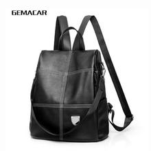 купить Simple Women Backpack High Quality Youth Leather Backpacks School Style Teenage Girls New Female School Bag Lattice Mochila по цене 1046.01 рублей