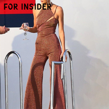 For Insider Wide leg sequin club party sexy jumpsuit long Backless brown office lady playsuit Women autumn winter jumpsuits 2019
