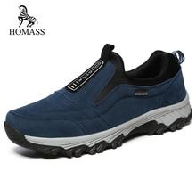 HOMASS весенне-осенняя обувь Человек воздухопроницаемая комфортная обувь повседневная обувь Для мужчин большой Размеры из флока слипоны кроссовки Мода Защитная Рабочая обувь